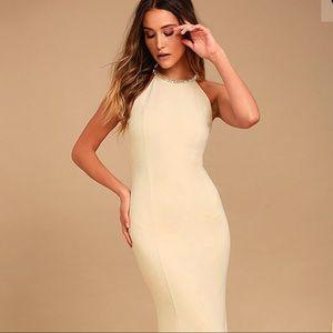 Light beige long beaded maxi dress
